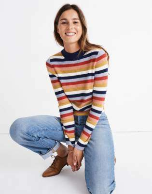 Madewell Mockneck Pullover Sweater in Stripe