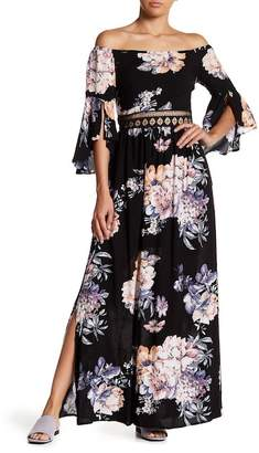 N. Tassels Lace Off-the-Shoulder Floral Maxi Dress