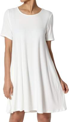 TheMogan Women's Round Neck Short Sleeve Pocket Flared Long Tunic Top S