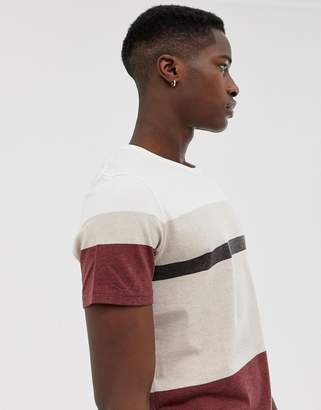 Selected t-shirt with block panel stripes