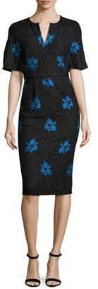 Lela Rose Flutter-Sleeve Floral Lace Sheath Dress, Black/Blue