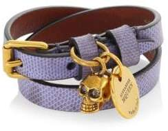 Alexander McQueen Double Wrap Skull Leather Bracelet