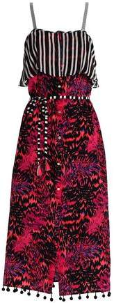 Pompom-Trimmed Printed Silk Midi Dress