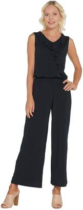 Joan Rivers Classics Collection Joan Rivers Sleeveless Jersey Regular Ankle Jumpsuit w/ Ruffle