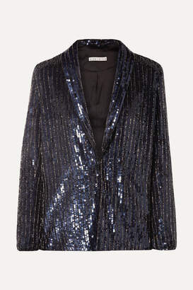 Alice + Olivia Alice Olivia - Jace Oversized Sequined Satin Blazer - Navy