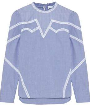 Sandro Suzan Lace-Trimmed Checked Cotton-Poplin Top