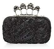 Alexander McQueen Women's Jewelled Four-Ring Beaded Leather Box Clutch