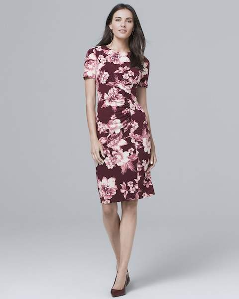 Whbm Short-Sleeve Floral Knit Sheath Dress