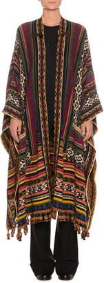 Etro Multi-Print Wool-Blend Poncho w/ Fringe & Buckle