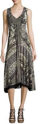Fuzzi Sleeveless Lace Mosaic-Print A-Line Dress, Black Pattern $695 thestylecure.com