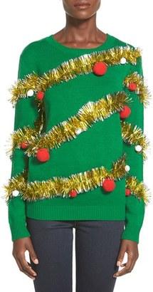 Junior Women's Ten Sixty Sherman Tinsel Ball Christmas Sweater $42 thestylecure.com