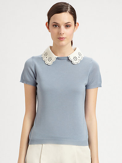 Moschino Cheap & Chic Moschino Cheap And Chic Lace Collar Knit Top