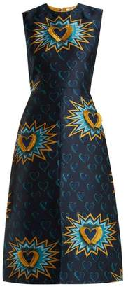 Fendi Heart Beat Jacquard Midi Dress - Womens - Multi