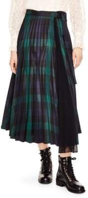 Sandro Sunshine Plaid Midi Skirt