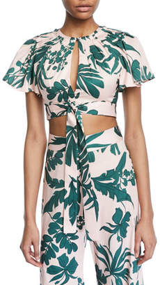 Alexis Lali Tropical-Print Crop Top