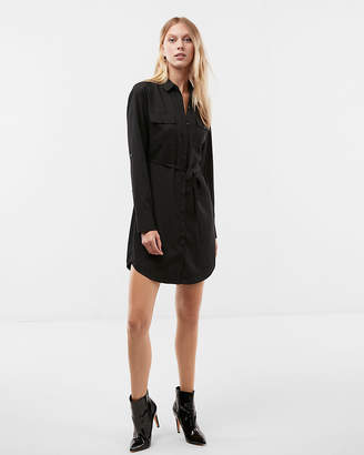Express Long Sleeve Pocket Shirt Dress