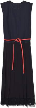 Marc Jacobs Pleated Dress with Lace in Navy