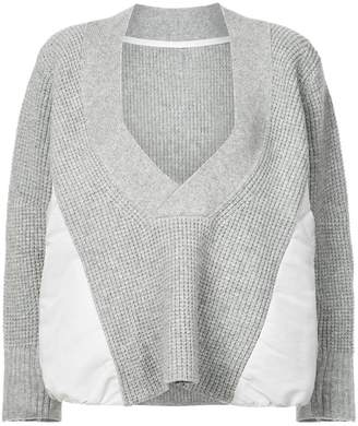 Sacai deep V-neck jumper
