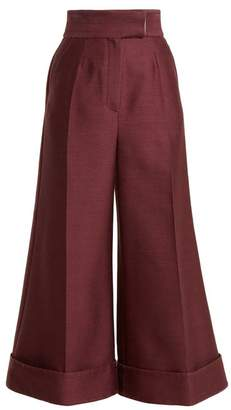 Roksanda Sina High Rise Wide Leg Trousers - Womens - Burgundy