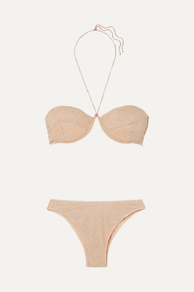 Oseree Shine Stretch-lurex Underwired Bikini - Neutral