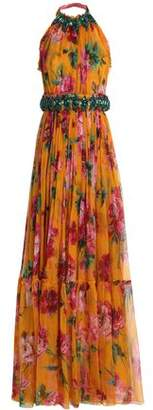 Dolce & Gabbana Tie-Back Embellished Floral-Print Silk-Chiffon Gown