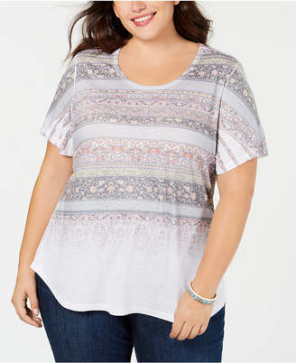 Style&Co. Style & Co Plus Size Mixed-Print T-Shirt, Created for Macy's