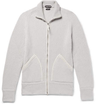 Tom Ford Slim-Fit Suede-Trimmed Ribbed Cashmere Zip-Up Cardigan