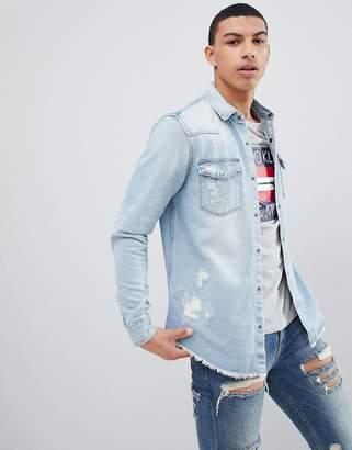 Pull&Bear Rip And Repair Regular Fit Denim Shirt In Light Blue