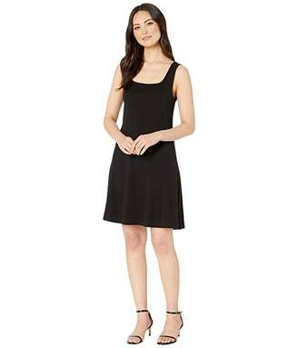Three Dots Heritage Knit Double Square Neck Fit Flare Dress