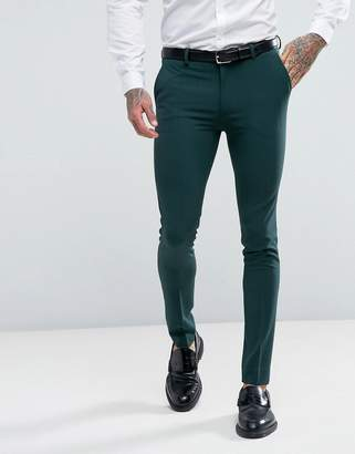 Asos Design Super Skinny Fit Suit Pants In Green