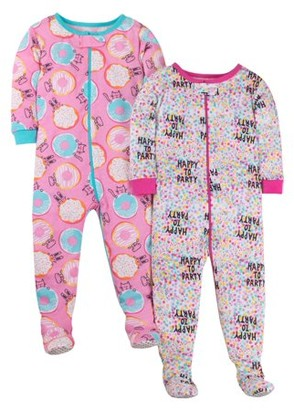 Little Star Organic Tight Fit Stretchie Footed Pajamas, 2-pack (Baby Girls & Toddler Girls)
