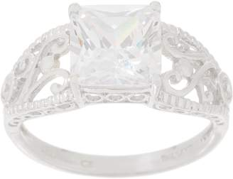 Diamonique Vintage Design Princess Cut Ring, Sterling Silver