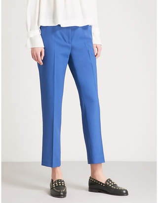 Claudie Pierlot Tapered cropped high-rise wool-blend trousers
