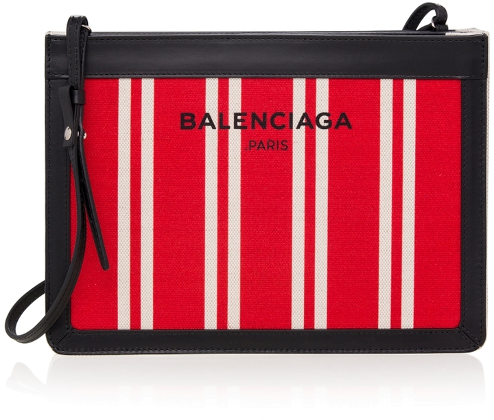 Balenciaga  Striped Canvas Crossbody