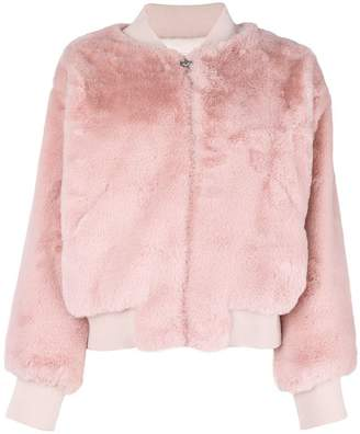 Chiara Ferragni logo backed fur bomber
