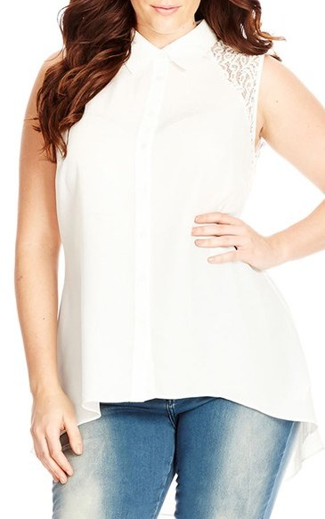 Women's City Chic 'Flirty Lace' Sleeveless Shirt