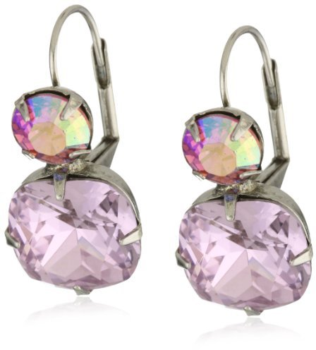 """Sorrelli Sweet Heart"""" Classic Two Drop Pink Cut Crystal French Wire Earrings"""