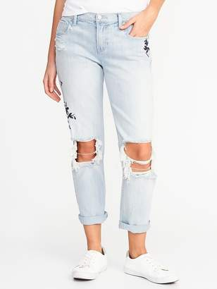 Old Navy Boyfriend Floral-Embroidered Straight Jeans for Women