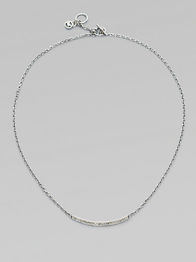 Michael Kors Stone Accented Bar Chain Link Necklace/Silvertone