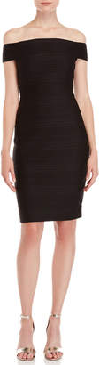 Vince Camuto Black Pleated Off-the-Shoulder Dress