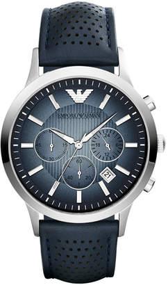 Emporio Armani Unisex Chronograph Blue Leather Strap Watch 43mm AR2473