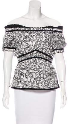 Zac Posen Printed Off-The-Shoulder Top w/ Tags