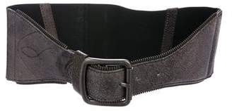 Yigal Azrouel Elasticized Leather-Trimmed Belt