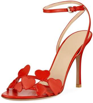Valentino Heart Leather Ankle-Wrap Sandals