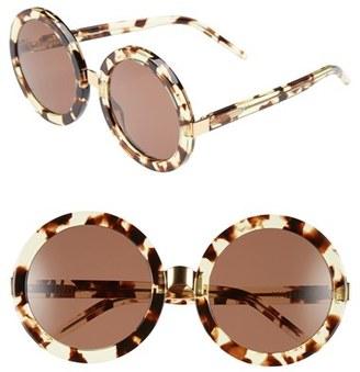 Women's Wildfox 'Malibu' 56Mm Round Sunglasses - Amber Tortoise/ Gold/ Brown $99 thestylecure.com