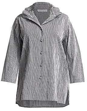Caroline Rose Women's Crinkle Gingham Button-Down Shirt