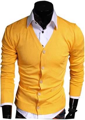 LemonGirl Mens V-Neck Button Down Long Sleeve Cardigan Sweater