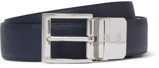 Dunhill 3cm Blue and Black Reversible Leather Belt - Men - Navy