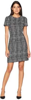 Calvin Klein Check Print Ponte Short Sleeve T-Shirt Body Dress CD8P58QQ Women's Dress
