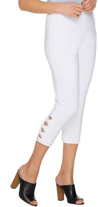 Susan Graver Weekend Stretch Cotton Spandex Capri Leggings with Cutouts